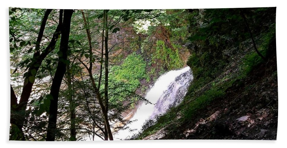 Waterfall Hand Towel featuring the photograph Jewell Of The Forest by Christian Mattison