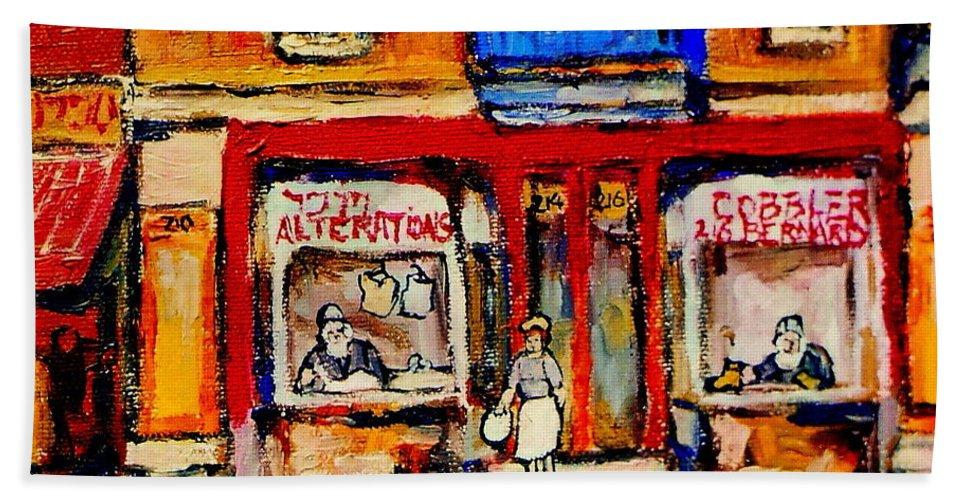 Jewish Montreal Art Hand Towel featuring the painting Jewish Montreal Vintage City Scenes De Bullion Street Cobbler by Carole Spandau