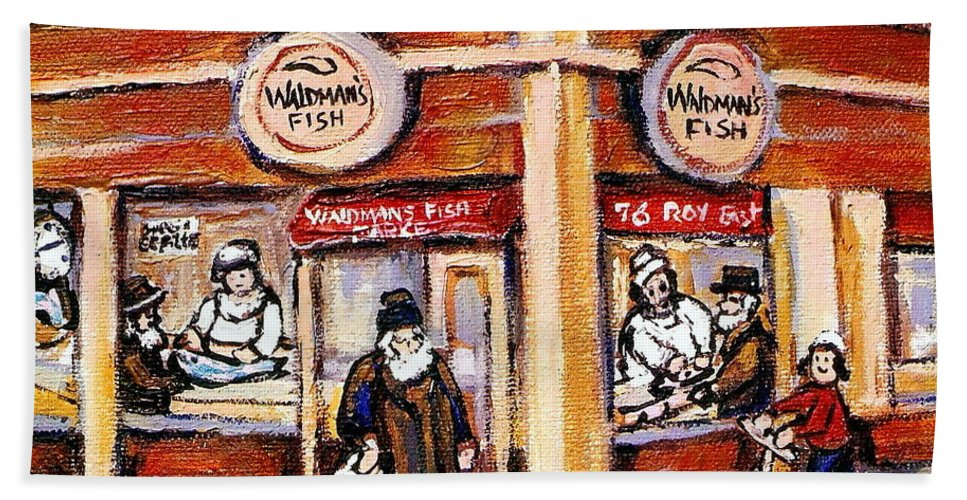 Jewish Montreal Art Hand Towel featuring the painting Jewish Montreal Vintage City Scenes Fish Market On Roy Street by Carole Spandau