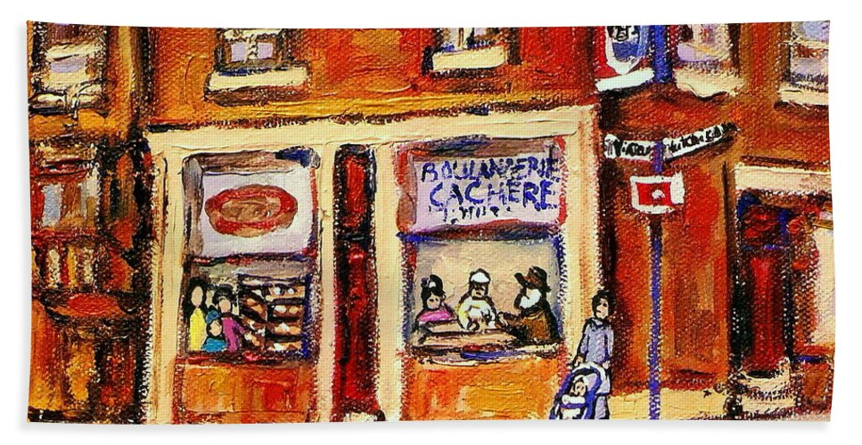 Jewish Montreal Art Hand Towel featuring the painting Jewish Montreal Vintage City Scenes Hutchison Street Butcher Shop by Carole Spandau