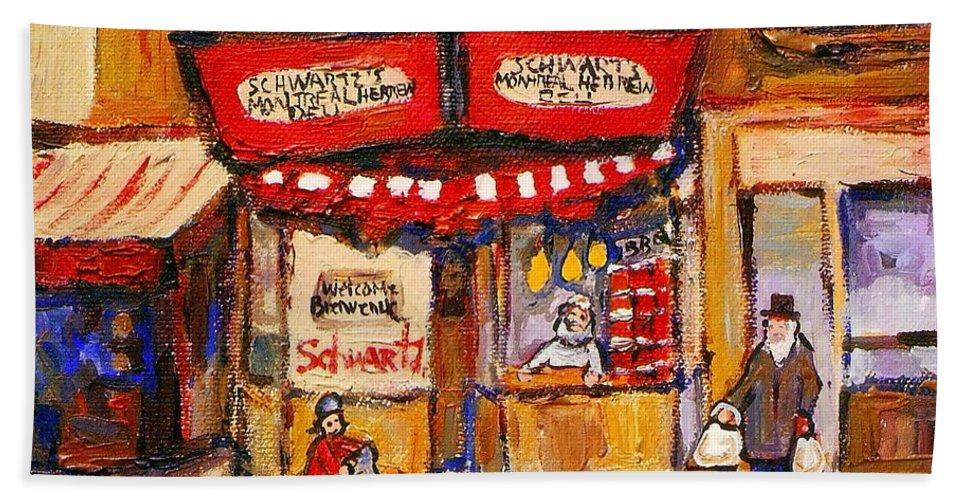 Jewish Montreal Art Hand Towel featuring the painting Jewish Montreal Vintage City Scenes Schwartzs Original Hebrew Deli by Carole Spandau