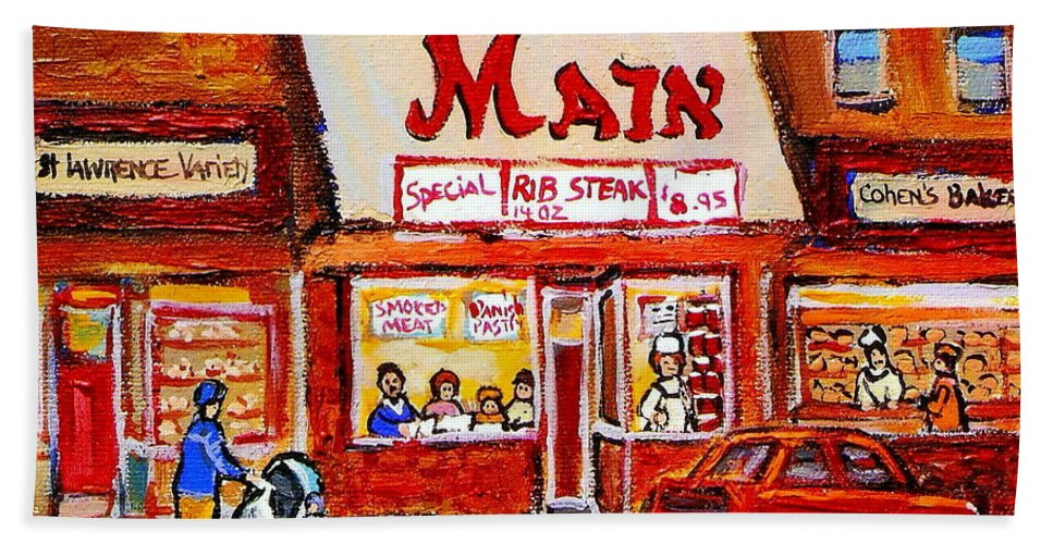 Jewish Montreal Art Hand Towel featuring the painting Jewish Montreal Vintage City Scenes The Main Rib Steaks On St. Lawrence Boulevard by Carole Spandau