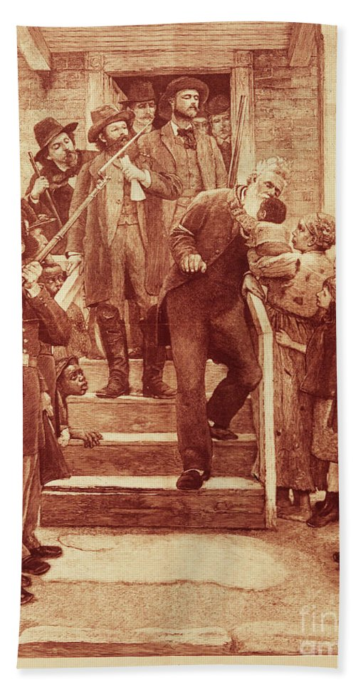 1859 Hand Towel featuring the photograph John Brown: Execution by Granger