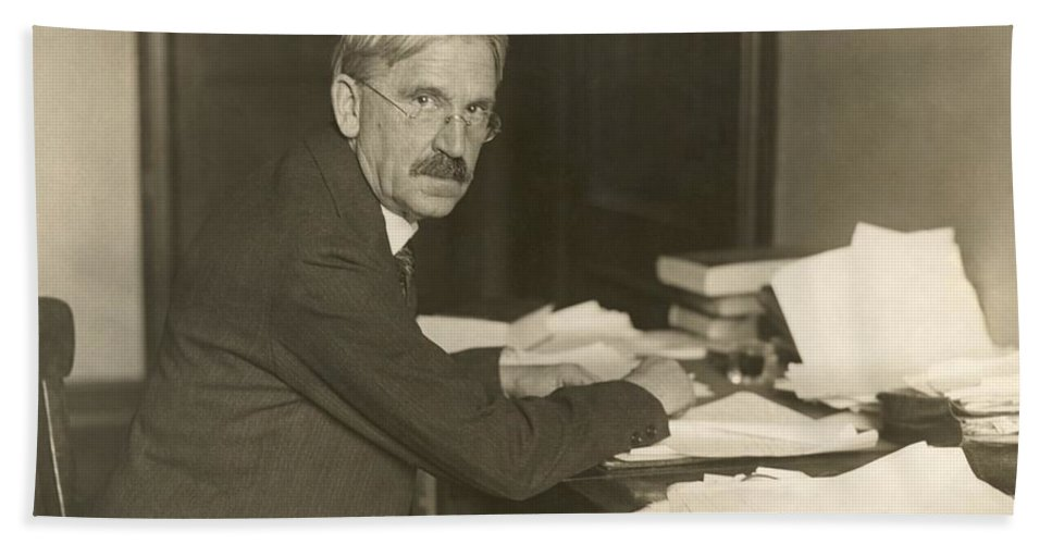America Hand Towel featuring the John Dewey, American Philosopher by Photo Researchers