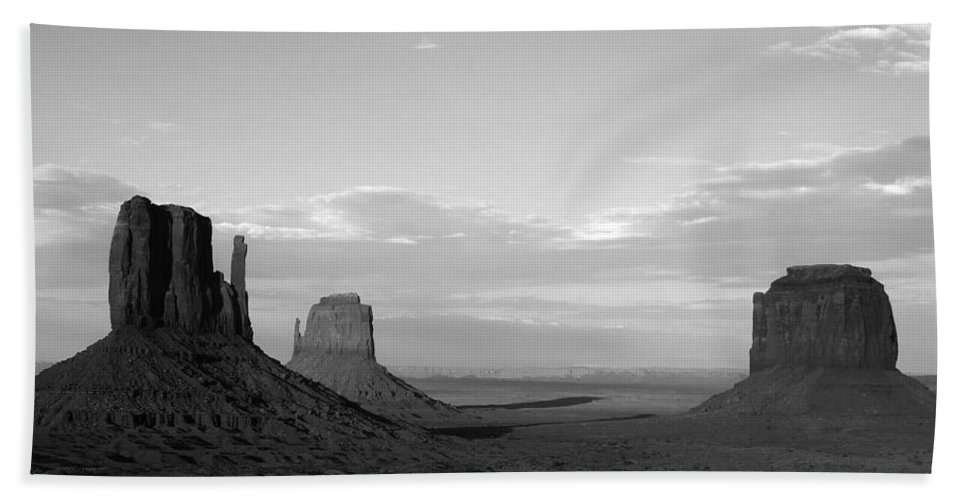 Bath Sheet featuring the photograph John Ford's Monument - Greeting Card by Mark Valentine