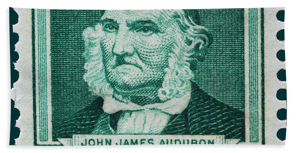 John James Audubon Postage Stamp Bath Sheet featuring the photograph John James Audubon Postage Stamp by James Hill
