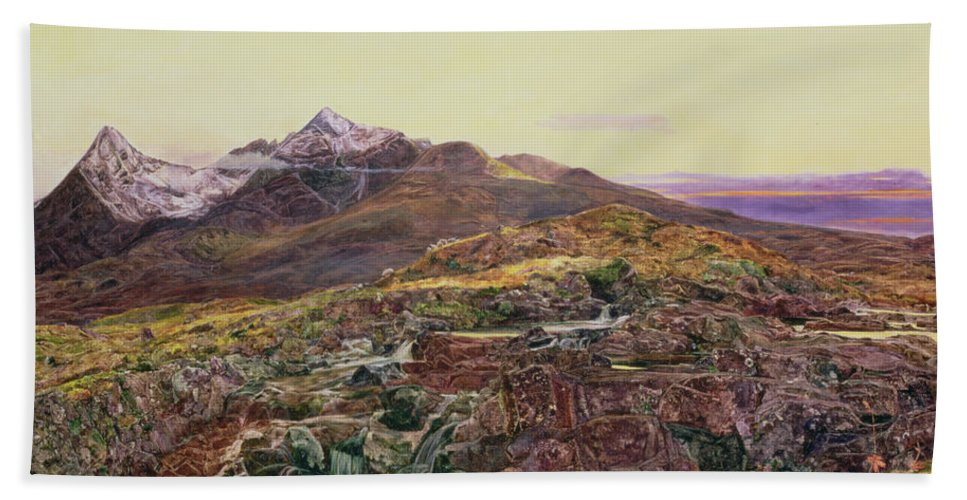 Cuillin Ridge Hand Towel featuring the painting John William Inchbold by Skye from Sligechan
