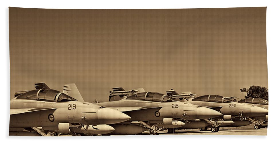 Boeing F/a-18e/f Super Hornets Bath Sheet featuring the photograph Joint Operations Squadron by Douglas Barnard