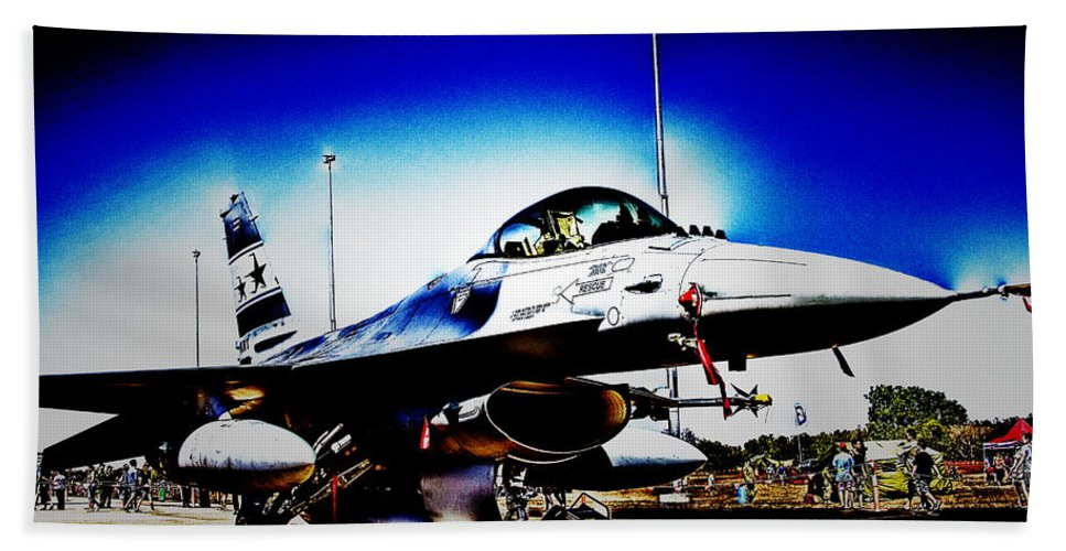 Fighter Jet Bath Sheet featuring the photograph Joint Operations V2 by Douglas Barnard