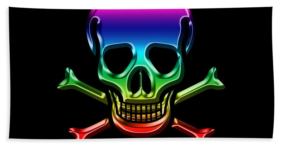 Skull Hand Towel featuring the digital art Jolly Roger Rainbow by Andrew Fare