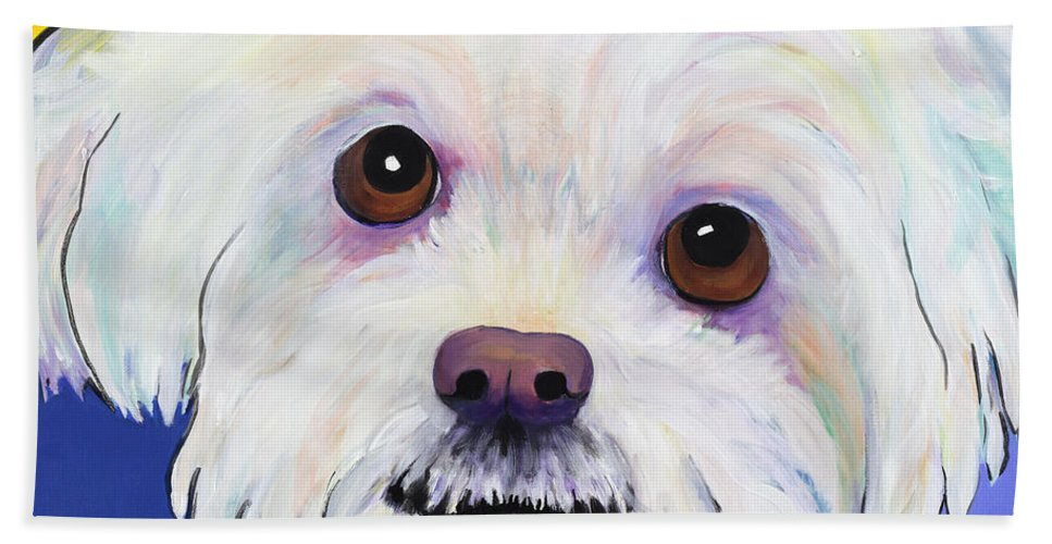 Llasa Apso Bath Sheet featuring the painting Joy by Pat Saunders-White