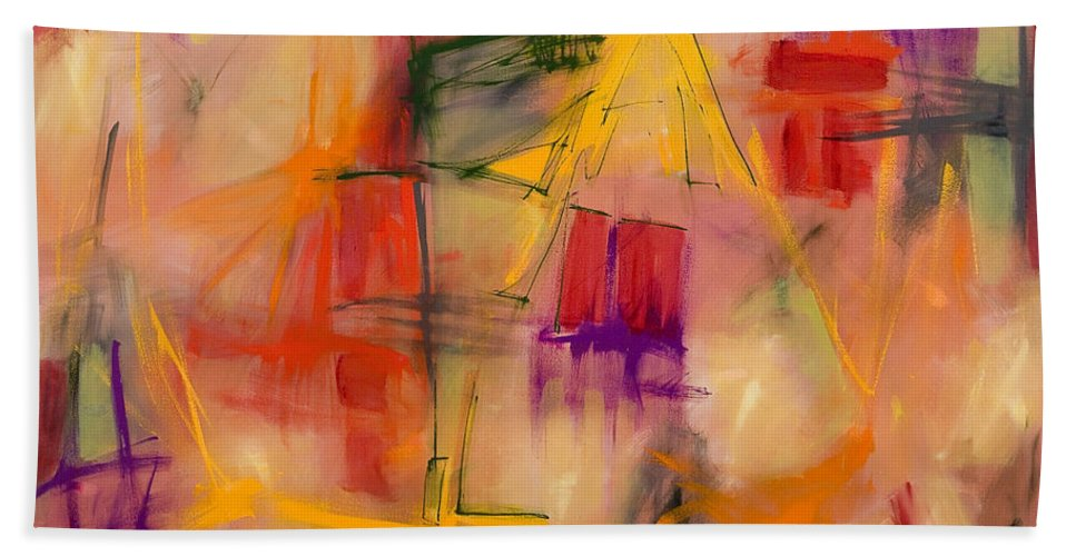 Abstract Hand Towel featuring the painting Jump Start by Lynne Taetzsch