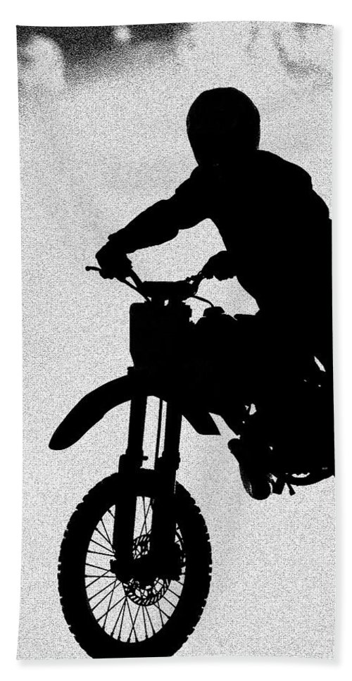 Motorcycle Hand Towel featuring the photograph Jumping High by Carolyn Marshall