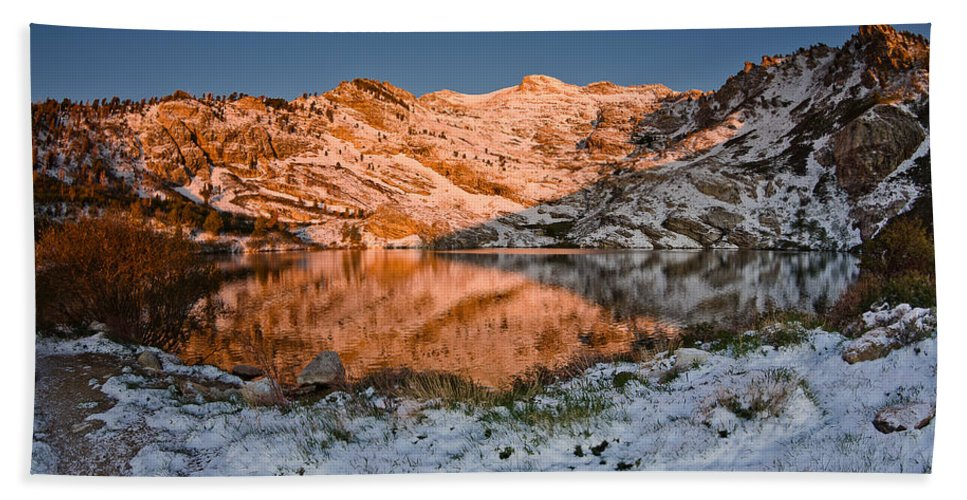 Angel Lake Hand Towel featuring the photograph June Snowfall At Angel Lake by Greg Nyquist