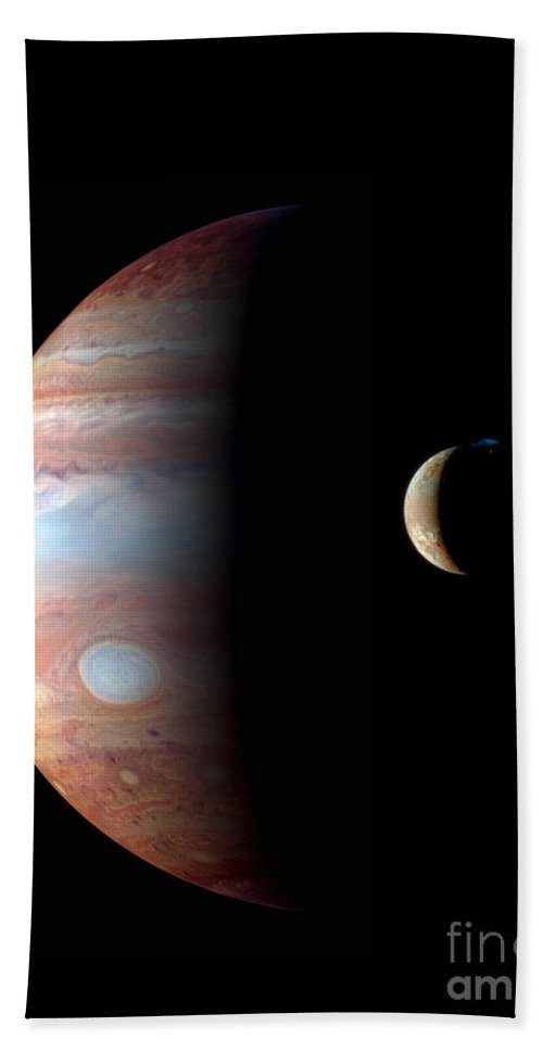 Science Hand Towel featuring the photograph Jupiter And Io by NASA/Science Source