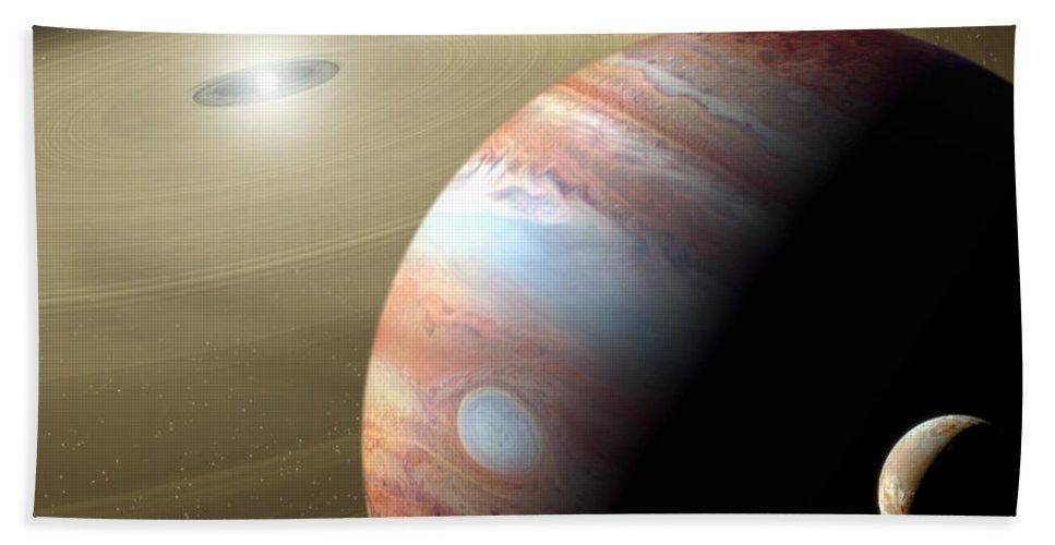 Animation Hand Towel featuring the digital art Jupiter And Moon by Mike Agliolo and Photo Researchers