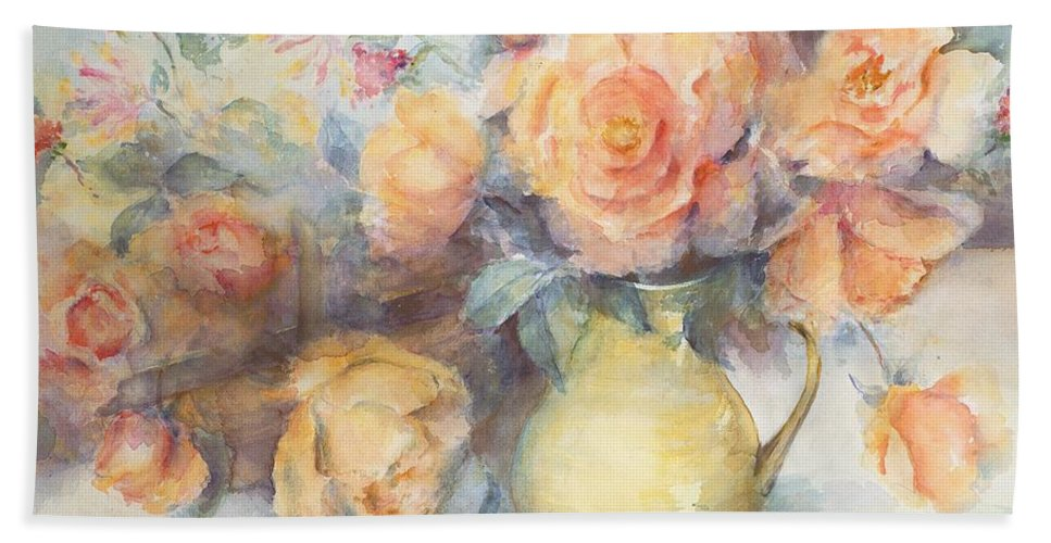 Flowers Hand Towel featuring the painting Just Joey Roses by Karen Armitage