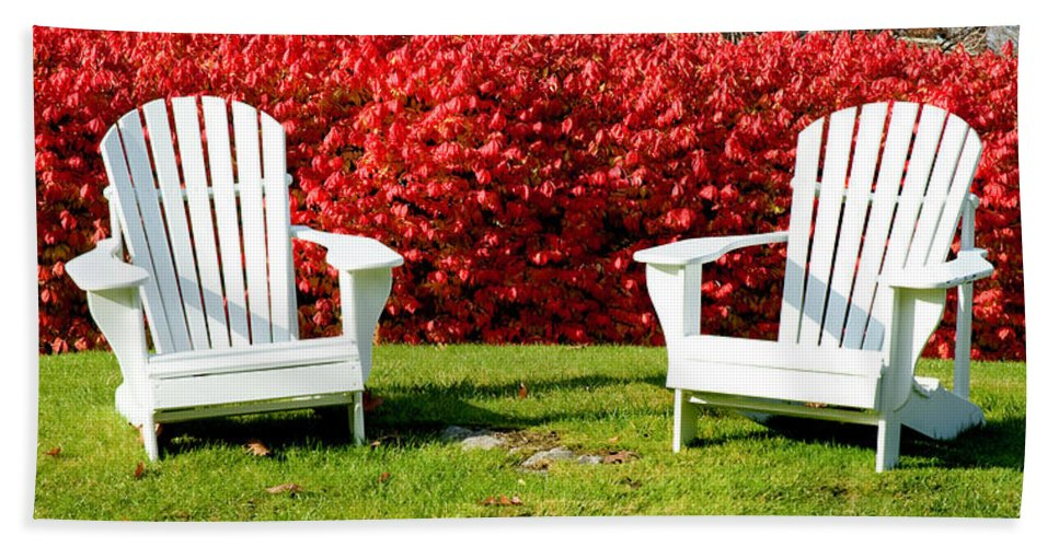 Chairs Bath Sheet featuring the photograph Just Relax by Greg Fortier