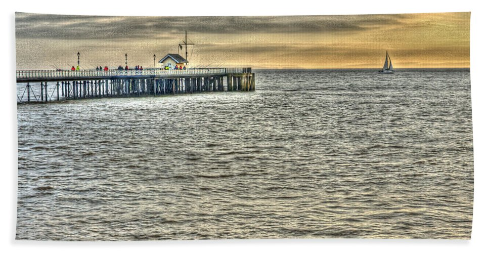 Penarth Pier Bath Sheet featuring the photograph Just Sailing By Grunge by Steve Purnell