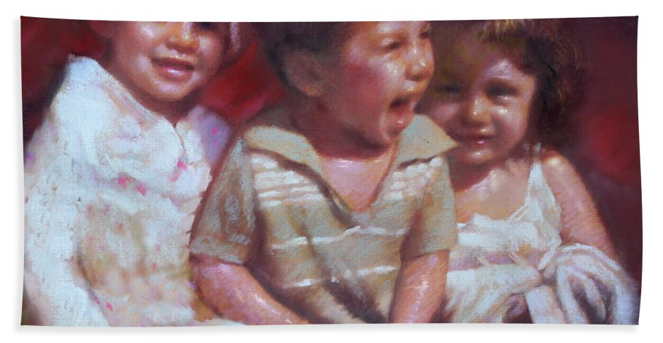 Children Bath Sheet featuring the pastel Just Say Cheese by Ylli Haruni