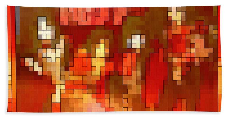 Squint Bath Sheet featuring the digital art Just Some Colored Squares by Gordon Dean II