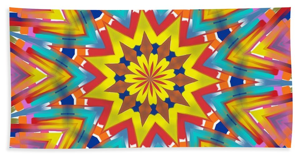 Kaleidoscopes Bath Sheet featuring the digital art Kaleidoscope Series Number 7 by Alec Drake