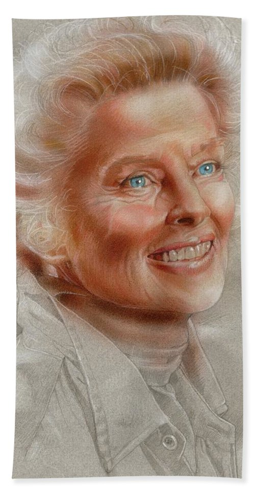 Celebrities Hand Towel featuring the painting Katherine Hepburn by Timothy Scoggins