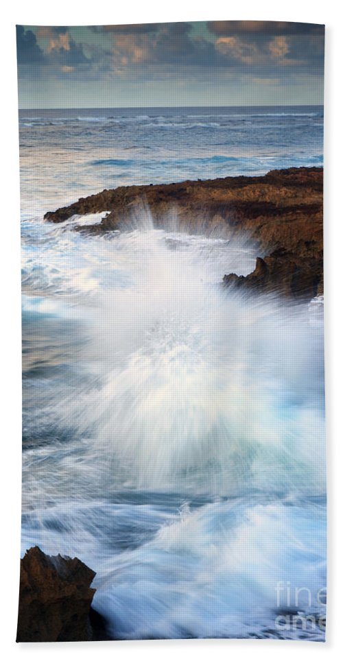 Waves Bath Sheet featuring the photograph Kauai Sea Explosion by Mike Dawson