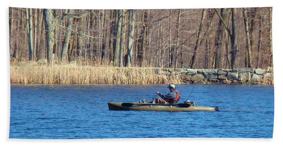Fishing Hand Towel featuring the photograph Kayak by Art Dingo