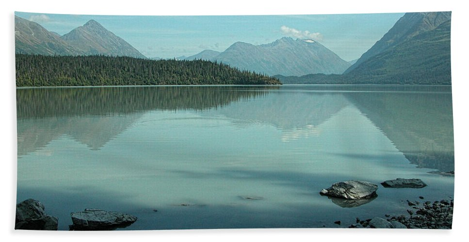 Blue Bath Sheet featuring the photograph Kenai Lake Reflections by Peggy Starks