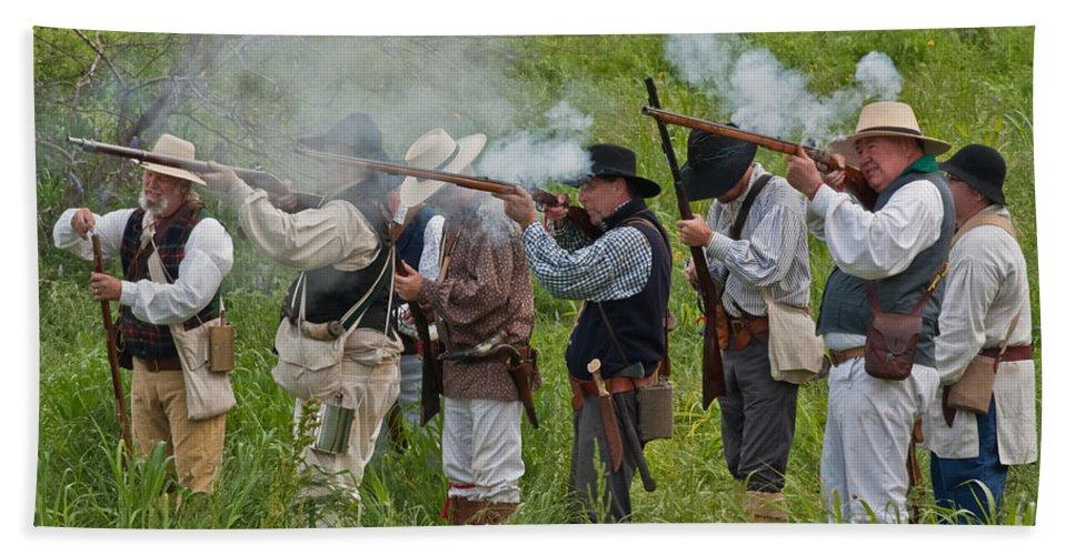 Reenactors Hand Towel featuring the mixed media Kentucky Mustangs by Kim Henderson