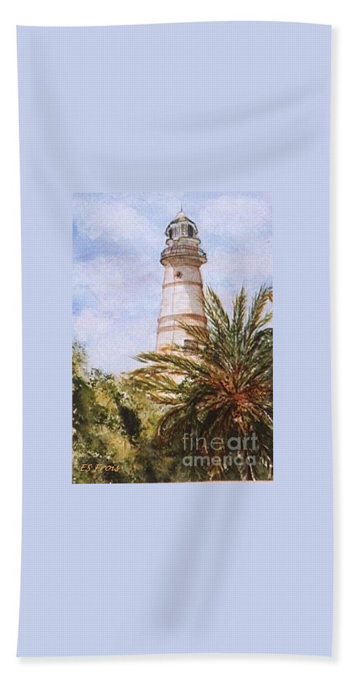 Key West Lighthouse Bath Sheet featuring the painting Key West Lighthouse by Evelyn Froisland