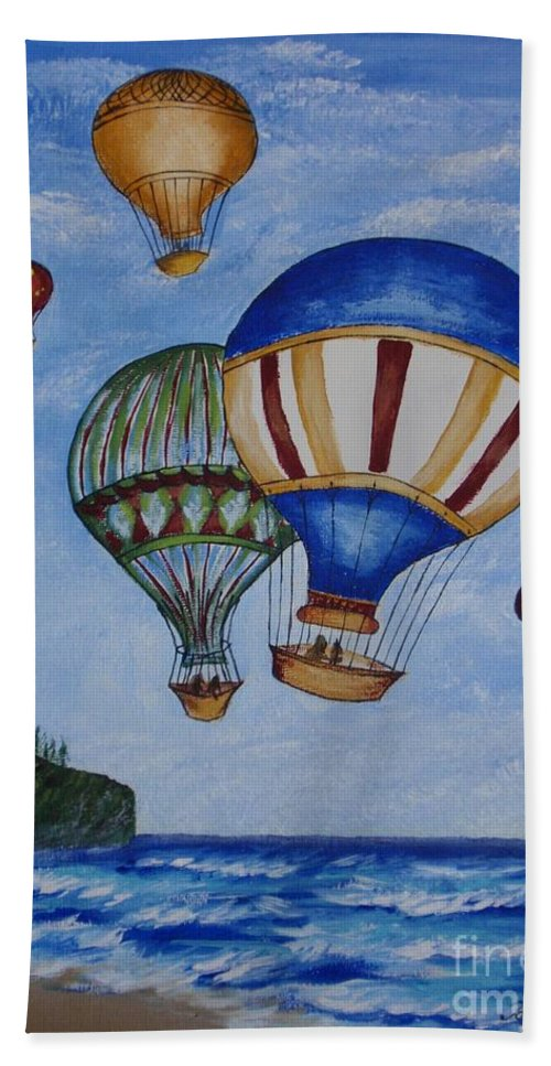 Painting Bath Sheet featuring the painting Kid's Art- Balloon Ride by Tatjana Popovska