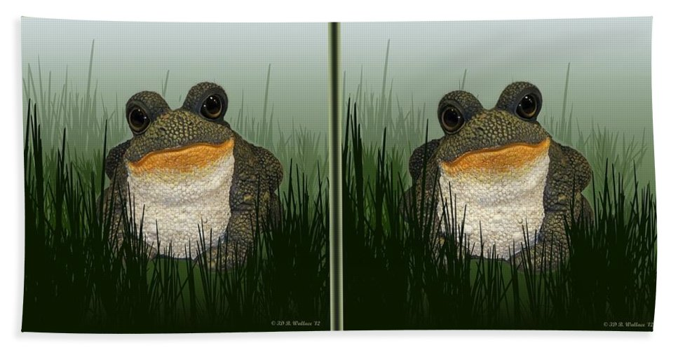 3d Bath Sheet featuring the photograph King Frog - Gently Cross Your Eyes And Focus On The Middle Image by Brian Wallace