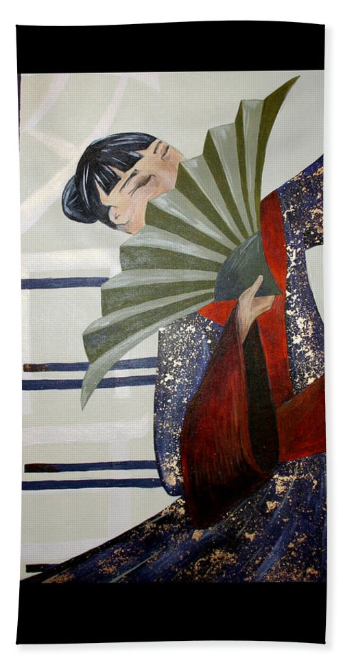Japanese Hand Towel featuring the painting Kisaragi by Kate Fortin