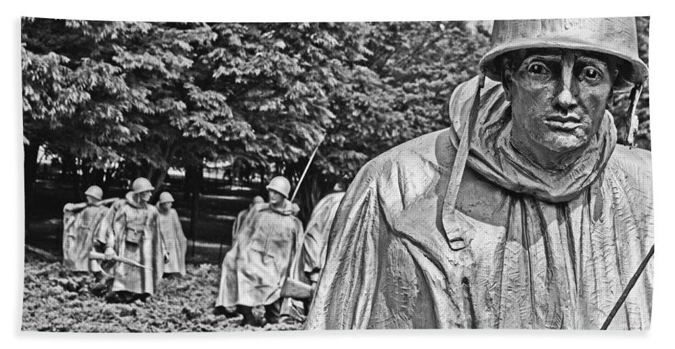 Korean War Memorial Hand Towel featuring the photograph Korean War Memorial by Tom Gari Gallery-Three-Photography