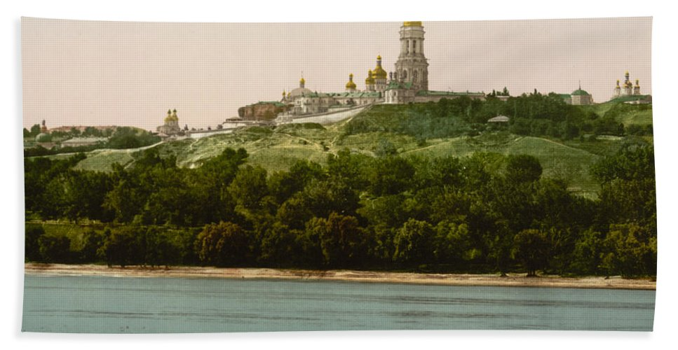 Lavra Hand Towel featuring the photograph La Lavra - Kiev - Ukraine - Ca 1900 by International Images