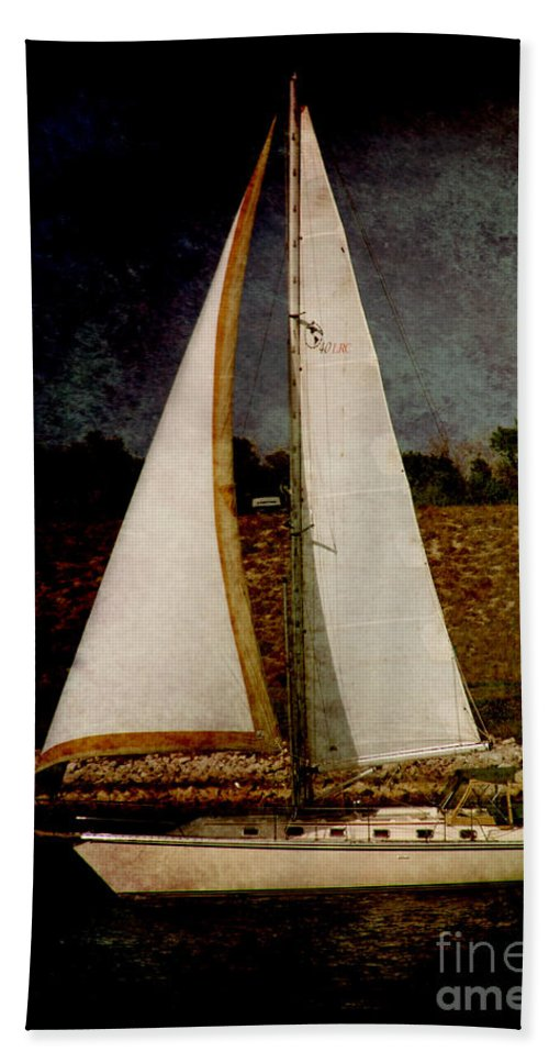 Boat Hand Towel featuring the photograph La Paloma Blanca Boat by Susanne Van Hulst