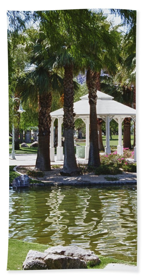 Flower Hand Towel featuring the photograph La Quinta Park Summer by Linda Dunn