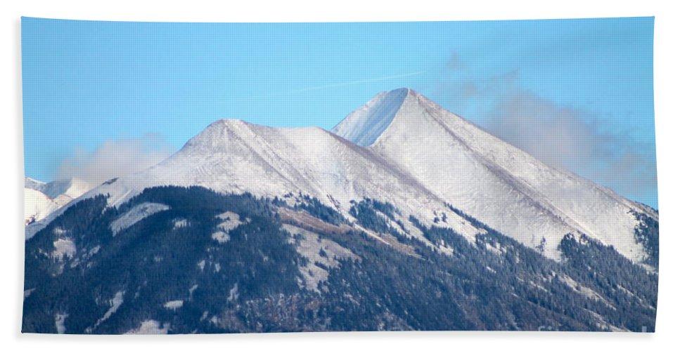 La Sal Bath Sheet featuring the photograph La Sal Mountains 111 by Pamela Walrath