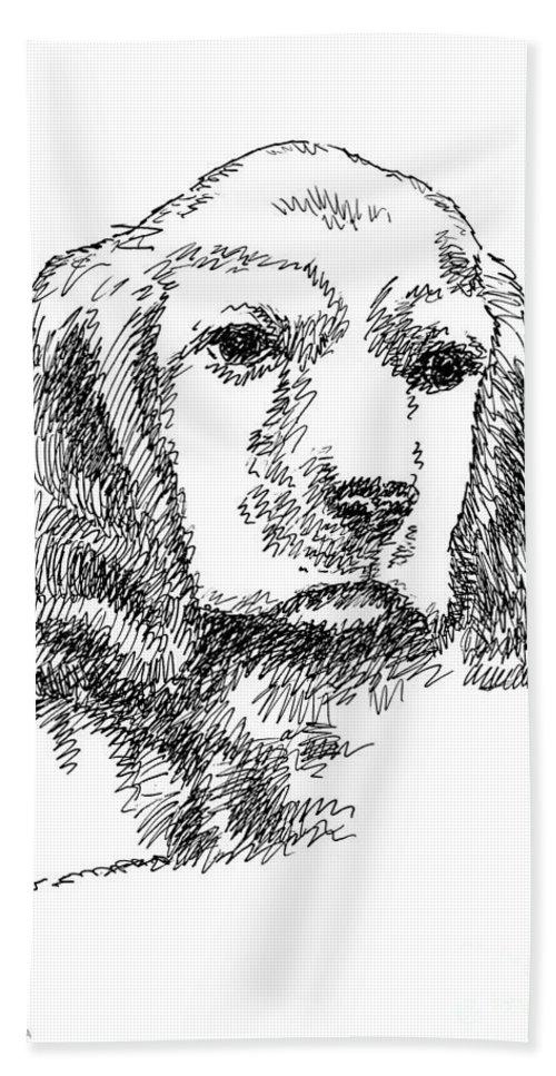 Labrador Bath Sheet featuring the drawing Labrador-portrait-drawing by Gordon Punt