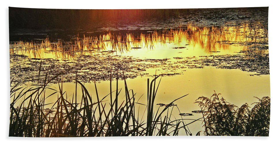 Lacassine Bath Sheet featuring the photograph Lacassine Sundown by Lizi Beard-Ward