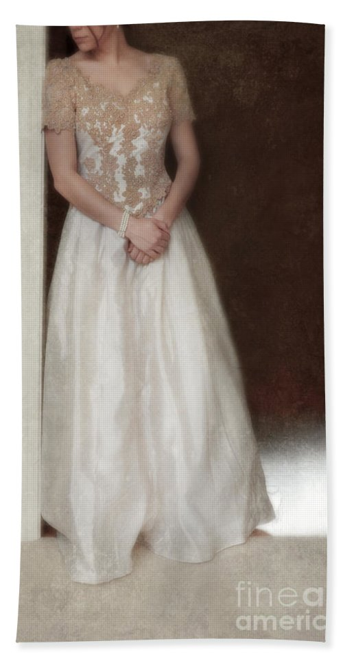 Beautiful Hand Towel featuring the photograph Lacy In Ecru Lace Gown by Jill Battaglia