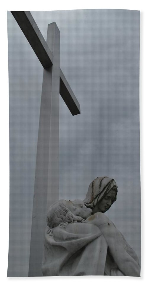 Lady Of Calvery Hand Towel featuring the photograph Lady And Cross by Michele Nelson