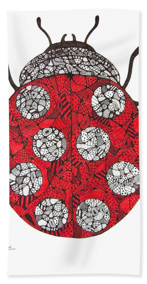 Ladybug Bath Sheet featuring the drawing Lady Bug by Leanne Karlstrom