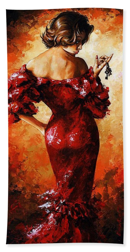 Lady Bath Sheet featuring the painting Lady In Red 33 by Emerico Imre Toth