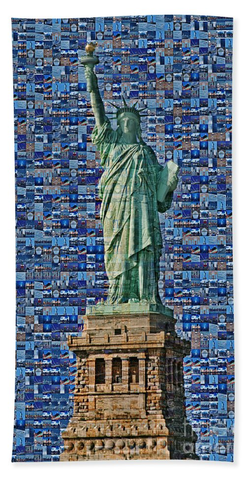 Statue Of Liberty Bath Sheet featuring the photograph Lady Liberty Mosaic by Susan Candelario