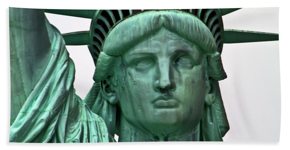 Statue Bath Sheet featuring the photograph Lady Liberty Up Close by Bill Lindsay