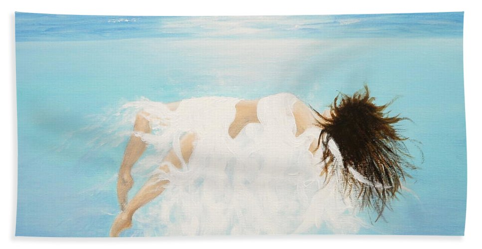 Water Bath Towel featuring the painting Lady Of The Water by Kume Bryant