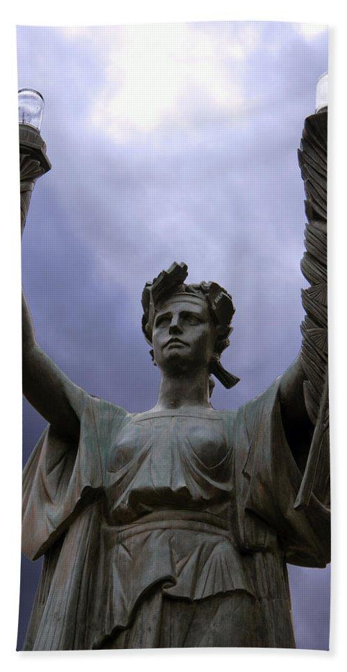 Statue Bath Sheet featuring the photograph Lady Victory by Glenn Gordon